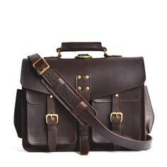 Marlondo Leather Wing Briefcase - Full Grain Leather Laptop Bag for Men - Handmade Veg Tan Leather Satchel Large mens leather laptop messenger bag, great for Leather Backpack For Men, Brown Leather Satchel, Leather Laptop Bag, Leather Briefcase, Leather Crossbody, Leather Men, Laptop Bags, Leather Company, Classic Leather