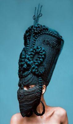 Woven Hair Mask Photography : Highness Photo Series by Delphine Diaw Diallo Living Puppets, Hair Afro, Art Textile, Photo Series, Fashion Art, Fashion Design, Headgear, Headdress, Wearable Art