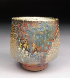 Handmade Smallish Yunomi Tea Cup Glazed with Shino, Wood Ash, Copper and Rutile with interesting Carbon Trapping Patterns by Shyrabbit / D Michael Coffee