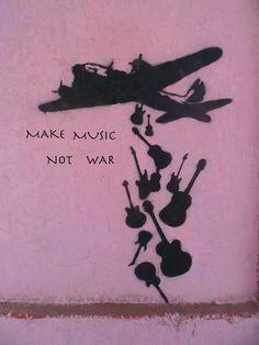 Artwork by Banksy - Make Music Not War, - Pinr Online Banksy Graffiti, Bansky, Street Art Graffiti, Banksy Prints, Graffiti Artwork, Yarn Bombing, Stencil, Rock Poster, Amazing Street Art