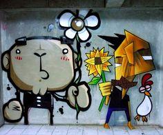 "Street art   Mural ""Flower"" (Bandung, Indonesia) by Stereoflow"