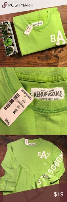 Aeropostale Long Sleeved Tee SIZE SMALL Neon Green Aeropostale Long Sleeved Tee SIZE SMALL Neon Green - NEW!  100% Cotton for comfort and easy-care. Aeropostale Tops Tees - Long Sleeve