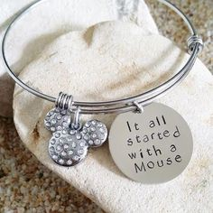 Bangle - Disney - Jewelry - Mickey - Mouse - Hand Stamped - Bracelet - Stamped Jewelry - Quote by KKandWhimsy on Etsy https://www.etsy.com/listing/199683804/bangle-disney-jewelry-mickey-mouse-hand