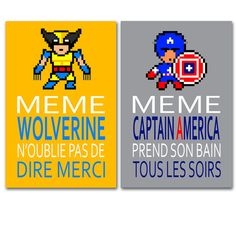 poster with wolverine and Captain America, humour, children wall art, bathroom Art Wall Kids, Wall Art, Captain America Funny, Funny Posters, Wolverine, Bedtime, Hulk, Kids Bedroom, Messages