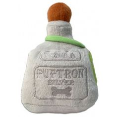 """This dog toy is replicates a bottle of Patron Silver Tequila with Puptron Silver Tequila embroidered on the bottle. This plush dog toy has an internal squeaker and measures 6"""" x 5""""."""