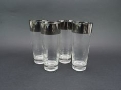 Authentic Dorothy Thorpe Allegro 12 oz Ice Tea, Tom Collins, or Water Tumblers,  Set of 4, Wide Silver Band Mid Century Modern, No Initials by LiliesLegacies on Etsy