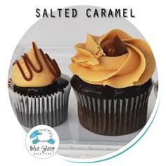 Moist chocolate cake dipped in chocolate ganache frosted with caramel buttercream.  Miniature cupcake size also available, pictured on the left.
