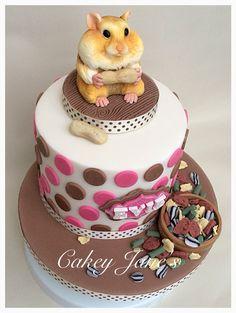 Hamster themed birthday cake