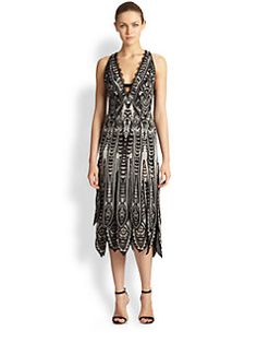 Roberto Cavalli - Silk Paneled-Hem Dress