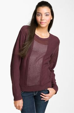 Rubbish® Open-Weave Panel Sweater (Juniors) available at #Nordstrom