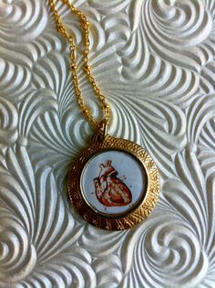 Heart Necklace  Anatomical Heart Print by CrucibleCrow on Etsy, $24.00