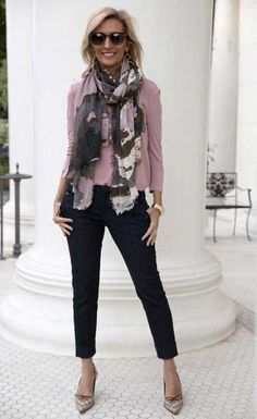 Pink slim blazer jacket outfit for women over 50 womens fashion over 50 fifty not frumpy classy over 50 ideas fashion womens 60 Fashion, Fall Fashion Outfits, Mode Outfits, Fashion Trends, Fashion Women, Spring Fashion, Pink Outfits, Fashion 2018, Trendy Fashion
