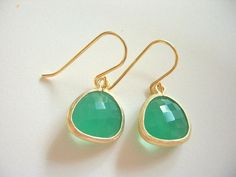 Spring Green Earrings, Palace Green Opal Gold Trimmed