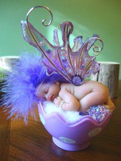 fairy baby purple BLOOMS ooak art doll wing fantasy EASTER fairies flower SPRING