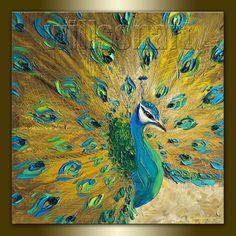Original Peacock Oil Painting Textured Palette Knife por willsonart