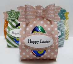 Stampin' Up Cadbury Egg treat holder made by Lynn Gauthier using SU's Designer Series Paper, Bow Builder and various Punches and Teeny Tiny Wishes Stamp Set. Go to http://lynnslocker.blogspot.com/2016/03/stampin-up-stampin-up-easter-basket_24.html to see how this treat holder was made.