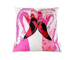 Handgemaakte zijden kussenhoes Magenta Flamingos, 48 x 48 cm
