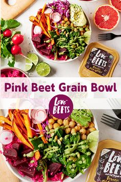 Pink dyed grains thanks to Love Beets make for a fun and colorful salad bowl!