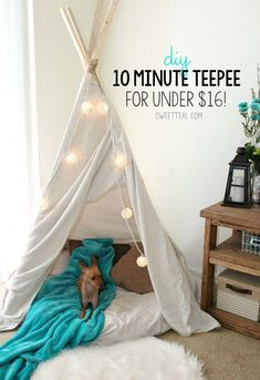 The easiest, cheapest, and fastest teepee you will ever make. The easiest, cheapest, and fastest teepee you will ever make. Diy Tipi, Diy Kids Teepee, How To Make Teepee, Diy Teepee Tent, Girls Teepee, Teepee Party, Kids Canopy, Dog Tent, My New Room