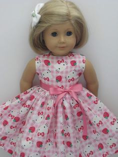 Hello Kitty Gingham Strawberry Clothes Dress Fits American Girl Doll New   eBay