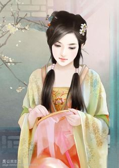 chinese digital art- this is such a beautiful piece of art- the lovely colors and the theme itself. They have created a very life like girl its such a peaceful image.