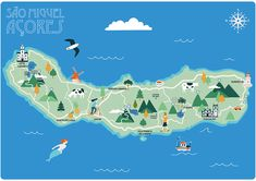 Ileana Rovetta – Map of San Miguel in the Azores Ileana Rovetta – Karte von San Miguel auf den Azoren Visit Portugal, Spain And Portugal, Portugal Travel, Map Pictures, Photos, San Miguel Azores, Vintage Travel Posters, Map Art, Trip Planning