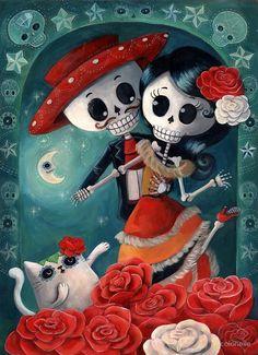 Dia de Los Muertos Couple of Skeleton Lovers by colonelle