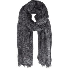 Ditsy Scarf ($68) ❤ liked on Polyvore featuring accessories, scarves, lenços, midnight, jersey scarves, vintage jerseys, patterned scarves, print scarves and leather shawl