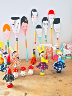 painted wooden spoons and dolls, artist Jess Quinn