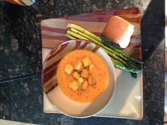Roasted carrot soup with roasted asparagus