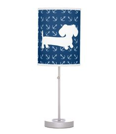 Although inspired by the sea, our nautical dachshund lamp goes almost anywhere on land. It can drift from a beach house bedroom to a nautical or navy nursery or even your office. Beach House Bedroom, Home Bedroom, Office Lighting, Office Lamp, Crusoe The Celebrity Dachshund, Navy Nursery, Floor Layout, Mini Dachshund, Incandescent Light Bulb
