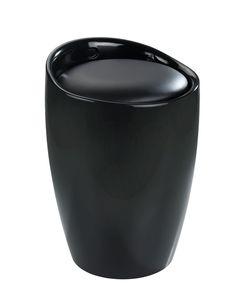 Der trendige Badhocker und Wäschesammler Candy ist aus stabilem ABS-Kunststoff gefertigt. Mit seinem stilvollen Schwarz wird das moderne Accessoire zum Hingucker in jedem Bad.