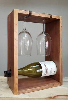 Botellero madera reciclada para dos. Mostrador estante del