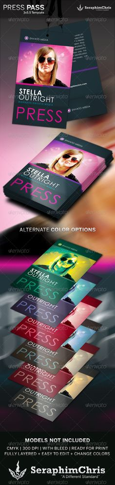Press Pass 4 Template — Photoshop PSD #staff #press pass • Available here → https://graphicriver.net/item/press-pass-4-template/6238613?ref=pxcr