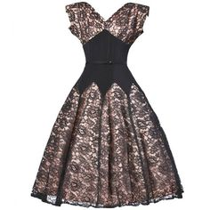 Pre-owned Vintage 50s 1950s Nude Illusion Black Lace + Rhinestone... ($450) ❤ liked on Polyvore featuring dresses, vintage, cocktail dresses, evening dresses, vintage dresses, rhinestone dress, lace fit-and-flare dresses, vintage lace cocktail dress and studded dress