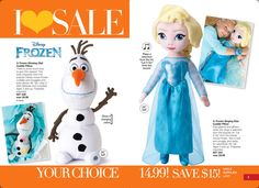 Avon Book Campaign 16. I LOVE SALE- Frozen Singing Elsa  or Frozen Glowing Olaf Cuddle Pillow ON SALE. Shop online with me at https://andreafitch.avonrepresentative.com/ #buyavon #frozen