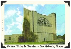 Recent photograph of the Mission Drive-In Theater in San Antonio, Texas - made to resemble a vintage photograph.
