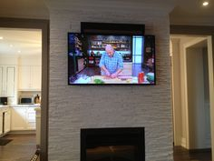 Sonos Sound Bar Installed above the LED TV using Sound Bar Brackets over gas fireplace. Full Motion Wall Mount, Home Theater Surround Sound, How To Patch Drywall, Pinterest Home, Wall Mounted Tv, Home Decor Kitchen, Home Projects, Family Room, Design Inspiration
