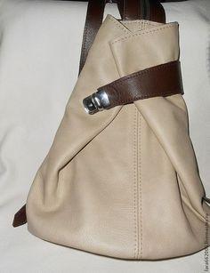 Женская сумка рюкзак из бежево- коричневой итальянской натуральной кожи, Сумка женская кожаная, сумка-рюкзак, 100% натуральная кожа,