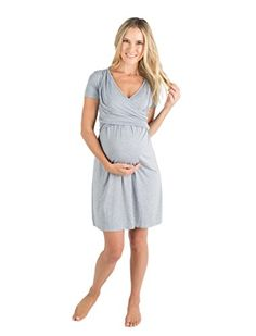 f966c14f6a Baby Be Mine The Lucy Ultra Soft Maternity   Nursing Nightgown Dress Light  Grey