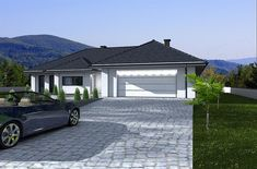 Projekt domu Madera 168,2 m2 - koszt budowy - EXTRADOM Beautiful House Plans, Beautiful Homes, Dream Home Design, Modern House Design, House Floor Plans, Home Projects, Master Bath, Patio, Garage Doors