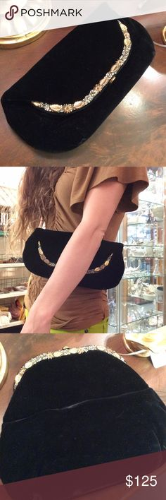 """SOFT Black Velvet Vintage Golden Trim Clutch Great condition black wallet from a smoke free environment. Folds over the top and unclasps. Comes with a Mini coin snap Purse. """"Garay"""" designer on the tag. Golden leaves, magnolia flowers and mini pearls. leaf.   R00005428889569 Vintage Bags Clutches & Wristlets"""