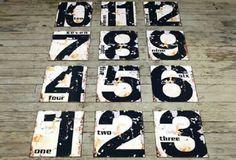 Antiqued Number Signs