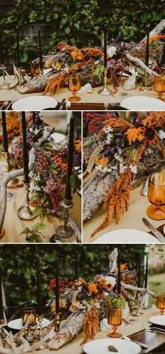 Hauntingly beautiful decor for a fall inspired bohemian wedding, featuring a spooky color palette of orange, purple, and black | image by Artemis Photography  #bohemianweddinginspo #fallweddinginspo #alternativeweddinginspo #elopementinspo #weddingphotoinspiration #weddingphotoideas #floraldesign #floraldecor #centerpieces #reception #weddingreception #weddingreceptioninspo #receptioninspiration #receptiondecor #receptioninspo #finishingtouches #weddingdecor #tablescape