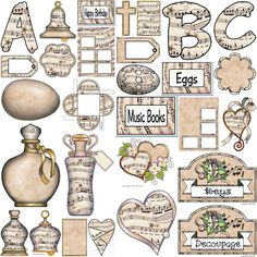 ArtbyJean - Paper Crafts: - Vintage Sheet Music Free Clipart Biege Tan - Lots of little stuff on a single sheet