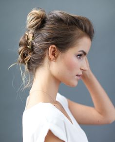 diy gold stitched up-do tutorial | via: once wed