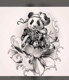 71 Cute Panda Tattoo Images - Wormhole Tattoo 丨 Tattoo Kits, Tattoo machines, Tattoo supplies Japanese Dragon Tattoos, Japanese Tattoo Art, Japanese Tattoo Designs, Japanese Art, Japanese Sleeve, Tattoo Design Drawings, Tattoo Sketches, Arte Dark Souls, Professional Tattoo Kits