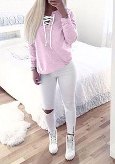 Rosa Ebene Ausschnitt Langarm Mode Sweatshirt