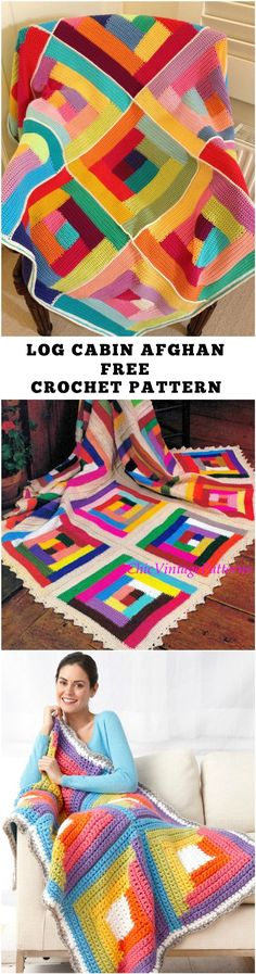Log Cabin Afghan – Free Crochet Pattern, super bulky yarn, wonder if worsted weight will be ok.
