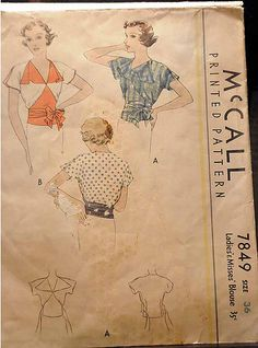 McCall 7849 | 1930s blouse
